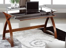 Wooden Computer Desk Plans Jual 900mm Curve Wood And Glass Computer Desk Home Office Intended