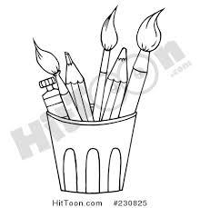 pencil clipart 230825 coloring outline cup pencils