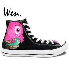 wen original design custom hand painted shoes ice cream monster