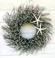 home decor gifts for mom coastal twig star fish wreath teal blue wreath seaside door wreath