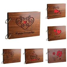photo albums personalized wooden cover albums handmade leaf pasted photo album