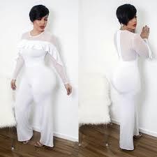 white wide leg jumpsuit sheer ruffle design wide leg jumpsuit addicted2fashion