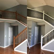 Gel Stain Banister Stair Railing Before And After Staircase Gallery