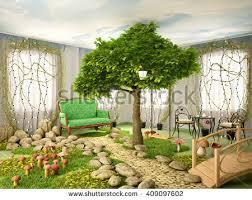 Nature Concept In Interior Design Concept Ecology Imprint Human Footprint Nature Stock Illustration