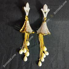 jhumka earrings with chain buy chain gold plated jhumka earrings with white pearl for