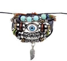 fashion charm leather bracelet images Fashion turkish evil eye charms leather bracelet black price jpg