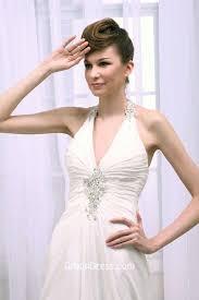 stylish halter neckline ruched chiffon backless wedding dress