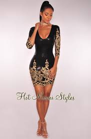 black gold sequins dress
