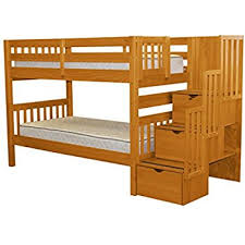 Bunk Bed For 3 Amazon Com Bedz King Stairway Bunk Beds Twin Over Twin With 3