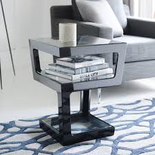 Black Gloss Side Table Triple Level Gloss Side Table Black Dwell