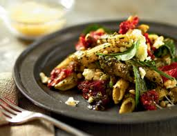 pesto pasta salad with feta sundried tomatoes and pine nuts