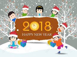 happy new year post card postcard happy new year 2018 and merry christmas with kids