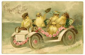 vintage easter image riding in car the graphics fairy