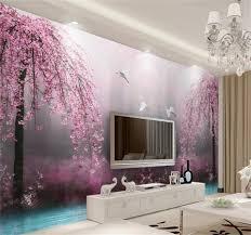 Living Room Setting by 3d Wallpaper Custom Photo Mural Living Room Pink Swan Lake Scenery