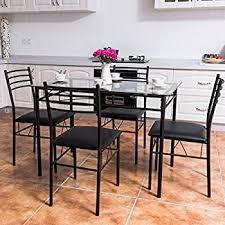 kitchen furniture set tangkula dining table set 5 wood metal home