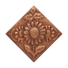 solid copper wall tile with sunflower design kitchen