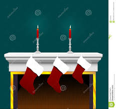 christmas stocking on fireplace stock image image 1331661