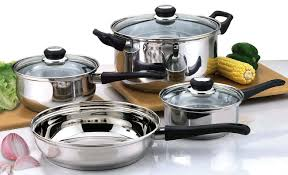 home pans kitchen culinary edge 7 piece stainless steel cookware sets with