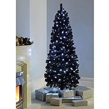 Fibre Optic Slim Christmas Trees - fb funkybuys black fibre optic slim pencil christmas xmas tree