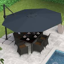 Patio Umbrella Table And Chairs by Patio Umbrellas Offset 11 Ft Strong And Sturdy Aluminum Pole White