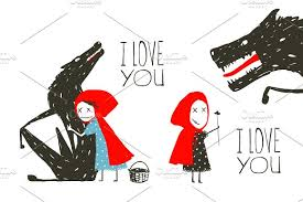 red riding hood loves wolf illustrations creative market