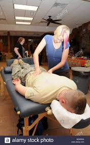 michelle adams of indianapolis gives a free massage to sgt