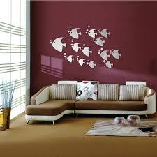 Tropical Fish Home Decor Diy 3d Tropical Fish Acrylic Mirror Stickers Creative Wall Decor