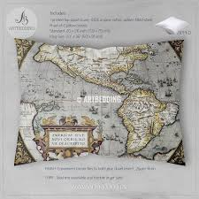 World Map Antique by Vintage Map Bedding Tagged