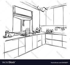kitchen interior sketch home furniture royalty free vector
