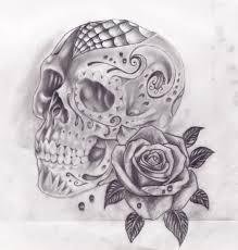 skull tattoo images free spider web skull and rose tattoo sketch jpg 900 943 hi