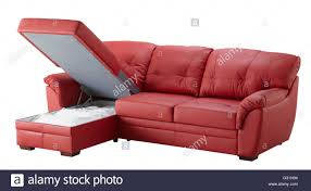 corner couch red leather corner couch bed with storage isolated on white