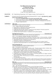 Resume Sample Format For Engineers by Manufacturing Engineer Sample Resume Splixioo