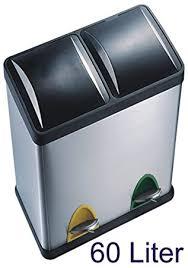 poubelle cuisine 60l 60 litres en acier inoxydable poubelle à pédale 2 x 30 l tri