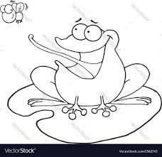 cartoon frog on lily pad royalty free vector image