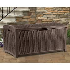 Wicker Storage Bench Suncast Resin 99 Gallon Deck Box Mocha Brown Dbw9200 Hayneedle