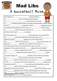 Free Adjective Worksheets Mad Libs Basketball Game Teaching Esl Pinterest Basketball