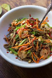 summer veggie shrimp u0026 soba noodle salad with peanut dressing