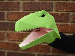 make your own velociraptor hand puppet with just paper and glue