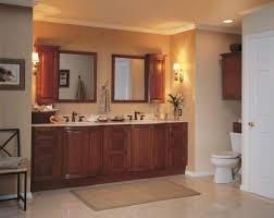 bathroom ideas brown stained wood vanity cabinet with beige
