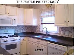 purple painted lady chalk paint painting oak kitchen cabinets with