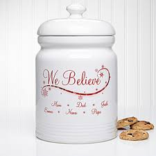 personalized christmas cookie jar we believe