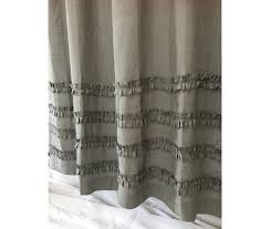 medium grey linen shower curtains with 4 rows of ruffles dress up