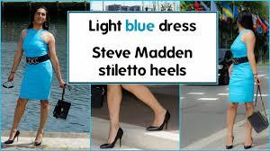 crossdresser light blue dress and black stiletto high heels