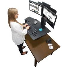 Sit Stand Desk Converter by Product Vctdc350 Victor High Rise Dual Monitor Sit Stand Desk