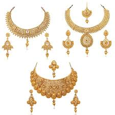 gold sets images buy reeva gold plated combo of 3 necklace earring set for women