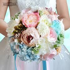 artificial peonies wholesale vintage artificial peonies bridal bouquet ribbon