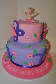 baby baby shower cake pink purple flower butterfly