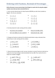 writing decimals as fractions worksheets ordering fractions decimals percentages by tristanjones