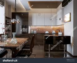 Interior Design Modern Kitchen Modern Kitchen Interior Design White Wooden Stock Illustration