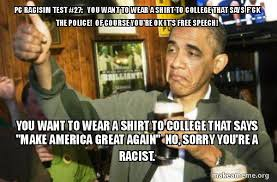 College Test Meme - pc racisim test 27 you want to wear a shirt to college that says f